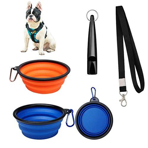 Weiming Cuencos de Viaje de Silicona, Cuenco Perro, Comedero para Mascotas, Alimentador de Agua Plegable Portátil, Tazones para Mascotas de Uso Doméstico Juego de 2 (650ml)