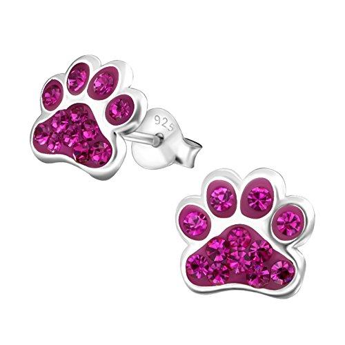 Laimons Mädchen Kids Kinder-Ohrstecker Ohrringe Kinderschmuck Hundepfote Pfote Pfötchen Tatzen mit Glitzer Pink aus Sterling Silber 925