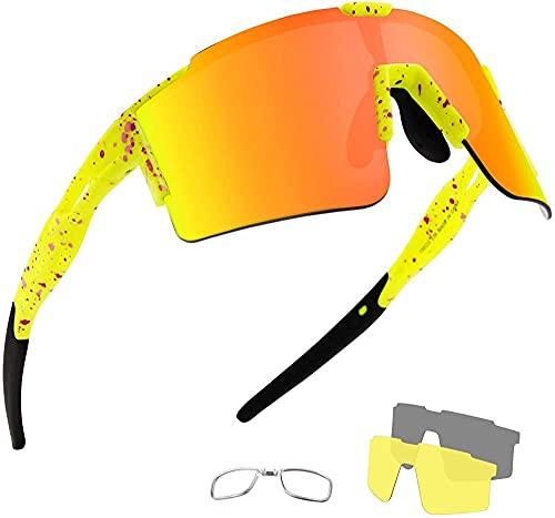 SKYUXUAN Gafas de Sol Deportivas polarizadas con 3 Lentes Intercambiables para Hombres Mujeres Ciclismo Caza de Caza de Pesca de Pesca con Gafas de Carreras-Fluo Amarillo/Naranja