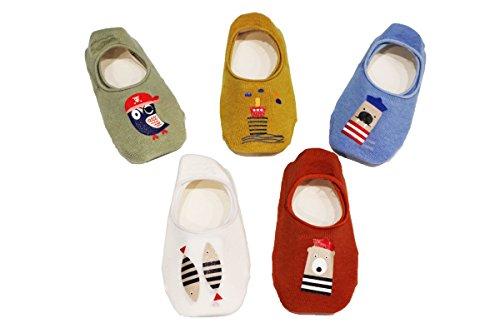 Ceguimos - Pack de 5 Pares Calcetines Invisibles para Bebé Niños - Antideslizante, Set 7, 1-3 Años
