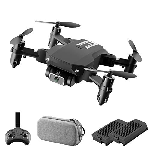 Mini Foldable Drone Remote Control Quadcopter with 1080 HD Camera Small Drone- Selfie, Headless Mode Altitude Hold, RC Drone RTF for Beginners & Adults (Black, with 2 Battery)
