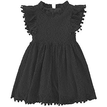 Niyage Toddler Girls Elegant Lace Pom Pom Flutter Sleeve Party Princess Dress Black 100