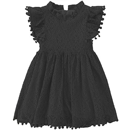 Niyage Toddler Girls Elegant Lace Pom Pom Flutter Sleeve Party Princess Dress Black 100