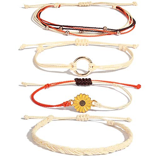 Sunflower String Bracelet Handmade Braided Rope Charms Boho Surfer Bracelet for Teen Girls Women(Beige)