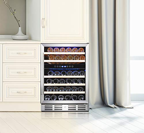 Kalamera 24'' Wine refrigerator 46 Bottle Dual Zone Built-in or Freestanding with Stainless Steel & Triple-Layer Tempered Glass Door and Temperature Memory Function