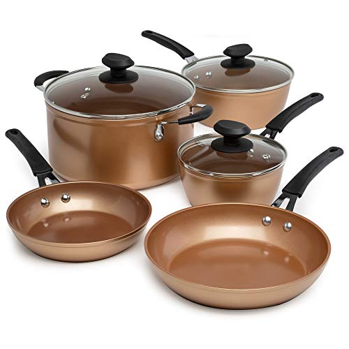 Ecolution Endure Titanium Ceramic Easy Clean Pots and Pans with Nonstick Interior Cookware Set with Silicone Stay Cool Handles, 8-Piece, Copper