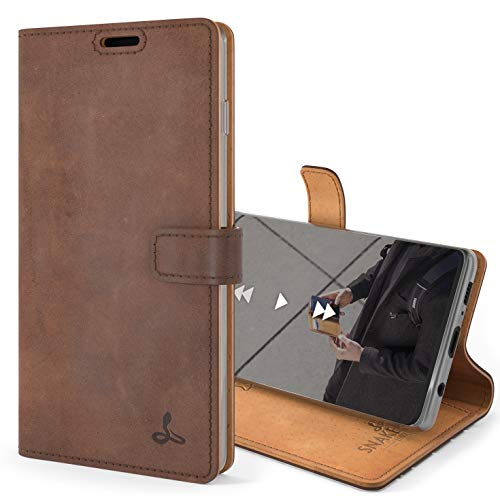 Snakehive S10 Plus Schutzhülle/Klapphülle echt Lederhülle mit Standfunktion, Handmade in Europa für Samsung Galaxy S10 Plus (Braun)