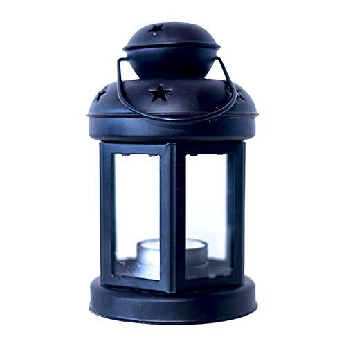 MoGist Dekorativer Kerzenständer Schmiedeeisen Europäische Winddichte Lampe Tischdekoration Leuchter Home Hochzeit Weihnachten Laterne (Schwarz)