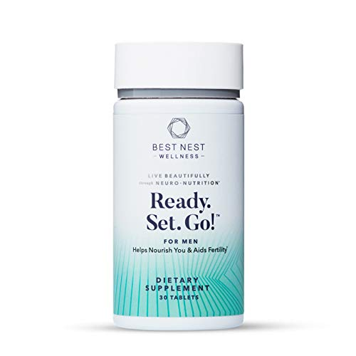 Ready. Set. Go! Fertility Support Prenatal Supplement for Men, Methylfolate, Natural Whole Food Men's Multivitamin, Organic Herbal Blend, Immune Support, 30 Ct, Best Nest Wellness