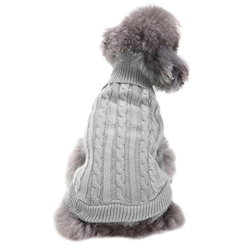 CHBORCHICEN Small Dog Sweaters Knitted Pet Cat Sweater Warm Dog Sweatshirt Dog Winter Clothes Kitten Puppy Sweater (Large, Grey)