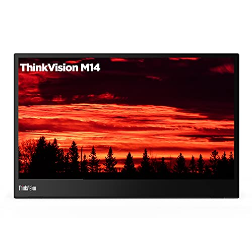 "Lenovo ThinkVision M14 14"" Full HD 1920x1080 IPS Monitor - 300 Nit 6ms 2xUSB Type-C Ports Widescreen Backlit LED LCD Mobile Portable Display Raven Black"