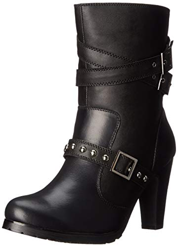 Ad Tec Womens 10 Inches Three Buckle Motocycle Boots Leather, Black - High Heel with Shank, Side Zipper, Adjustable Vamp and Side Ankle Straps