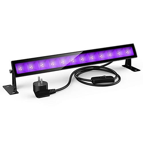 24W UV Luz LED, Lámpara de Luz Negra IP66 Impermeable Barra Ultravioleta con Interruptor, Cable de Alimentación de 1.5M Iluminación de Escenario para Bar Discoteca DJ Disco Halloween Navidad Fiesta
