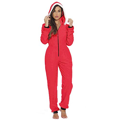 Women's One Piece Christmas Zip Up HoodedLong Sleeve Jumpsuit Slim Fit Plush Novelty Pajamas Mrs. Claus Santa Costume Cosplay (Red, 2XL)