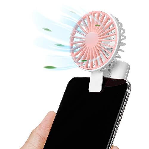 Nezylaf Handheld Fan Clip on Phone Laptop, Mini Fan Powerful Small Personal Portable Fan 1 Speeds USB Rechargeable Fan for Girls Woman Outdoor Travel (White)