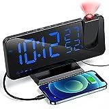 Sveglia da Comodino Digitale con Proiettore , Aikove Sveglia con Fm Radio , Sveglia Multifunzionale,Usb Doppi Sveglia , 3 Livelli Luminosità, Snooze e 15 Livelli di Volume,12/24h,,Per camera da letto