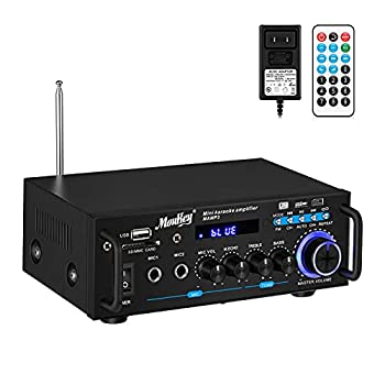 Moukey Bluetooth 5.0 Home Audio Power Stereo Amplifier for Speakers - Portable 2 Channel Stereo Desktop Amp Receiver with FM Radio MP3/USB/SD Readers 2 Mic Input Remote  Peak Power 100W