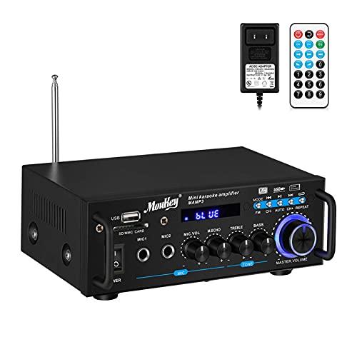 Amplificatore Potenza Audio potenza di picco 100 Watt Moukey Amplificatore Audio HiFi Stereo BT Radio Portatile per con radio FM, lettori MP3/USB/SD display LED digitale, ingresso microfono