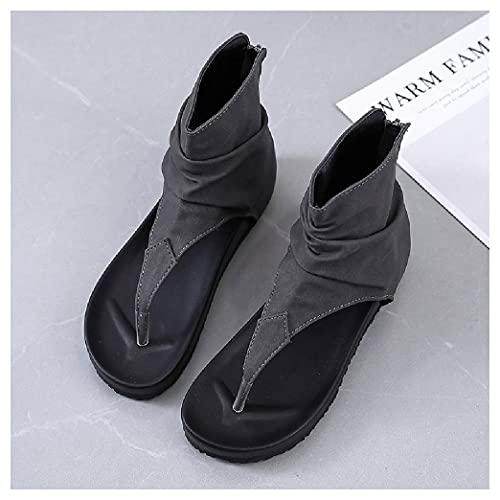 SHENGYAO Sandalias de Moda de Verano Peep Toe Platform Sandalias Romanas de tacón Plano para Mujer para Fiesta Boda Prom Zapatos de Corte cómodos Casuales,Grey-42
