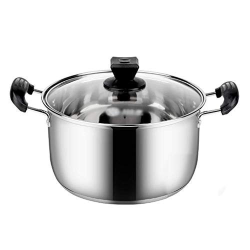 Find Bargain 304 stainless steel pot, with lid stockpot, risotto, porridge, transparent glass lid, multi-layer, large capacity, binaural steamer