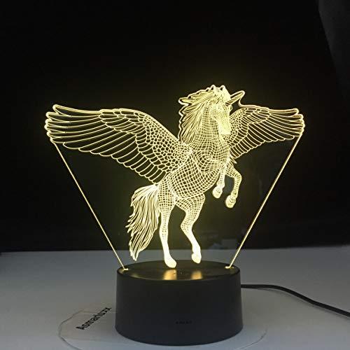 Einhorn fliegende Modell ings Regenbogen Pferd Nachtlicht 3D LED Tischlampe Kinder Geburtstagsgeschenk Nachtzimmer Dekoration