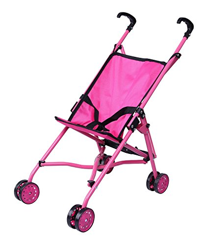 Precious Toys Umbrella Doll Stroller, Black Handles and Hot Pink Frame, Hot Pink