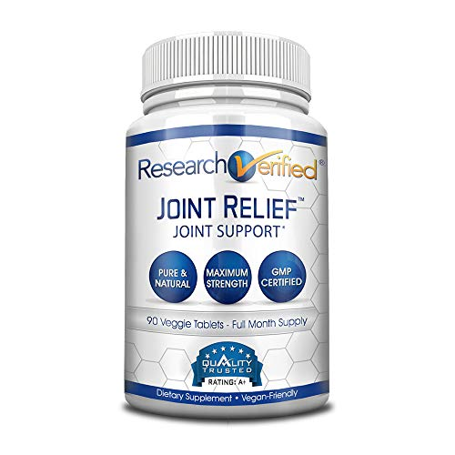 Research Verified Joint Relief - 100% Natural Glucosamine, MSM and Turmeric, Boswellia + Vitamins for Joint and Muscle Pain Relief and Joint Support - 1 Bottle (1 Month Supply)