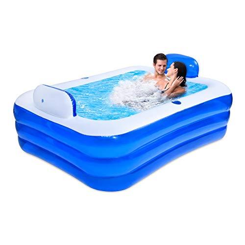 Gidenfly Bañera inflable doble baño barril plegable adulto engrosado PVC piscina portátil bañera doble relajación SPA piscina con tres capas