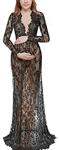 WINKEEY Vestido Maxi de Maternidad de Encaje Floral Vestido de Embarazo Sesión de Fotos Manga Larga Cuello en V, Negro XL