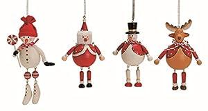 4 Weihnachtsanhänger je 8 -12 cm Baumschmuck Schneemann Elch Nikolaus W eihnachten Deko Anhänger