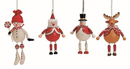 Geschenkestadl 4 Weihnachtsanhänger je 8-12 cm Baumschmuck Schneemann Elch Nikolaus W eihnachten Deko Anhänger