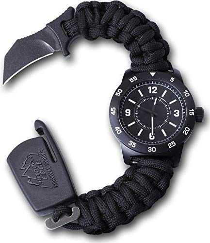 """Outdoor Edge ParaClaw CQD Tactical Survival Watch with Paracord Knife Band, 100' Water Resistant Titanium Coated Zinc Alloy Case and 1.5"""" Hawkbill Knife Blade (Medium)"""