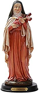 ABZ Brand Saint Thérèse of Lisieux The Little Flower of Jesus St.Theresa Catholic Resin Statue with Wood Base Sculpture