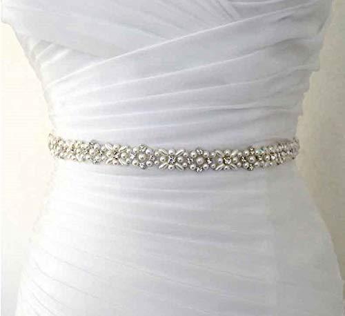 Brautgürtel Brautkleid Gürtel schmal Kleid Silber Strass Perlen weiß ivory