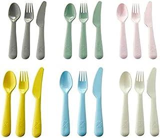 IKEA 704.613.85 Kalas 18 Piece Childs Plastic Cutlery Set Mixed Pastel Colours