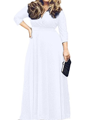 POSESHE Women's Solid V-Neck 3/4 Sleeve Plus Size Evening Party Maxi Dress White 3X-Large