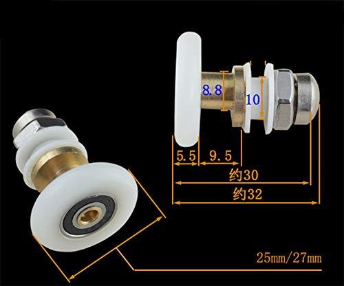 4 stuks 19mm diameter witte kleine doucheruimte lager douchecabine wielen