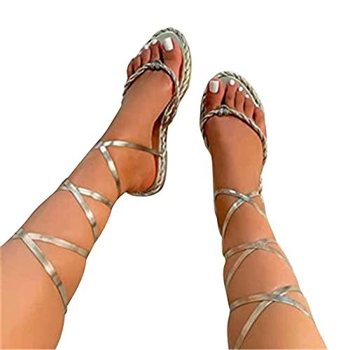 Sandales Femmes Plates Confortables Été Plage Sexy Gladiateur Romaines Ethniques Chaussures Casual Spartiate Tendance Pas Cher Femmes Genou Haut Gladiateur Sandales Romaines grande taille (D, 37)