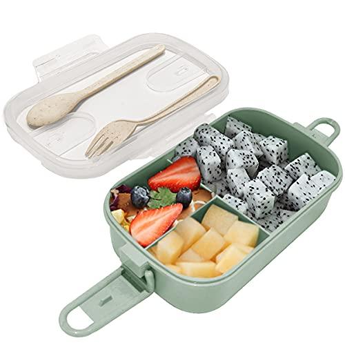 Dolinvo Fiambrera para Kindergarten Snacks Bento Sellada y Oficina para Adultos con 3 Compartimentos...