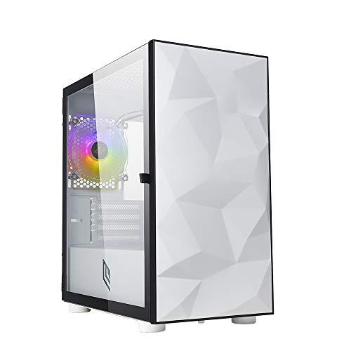 Noua Fobia L9 Bianco Case Micro ATX per PC Gaming Mini Tower 0.60MM SPCC Ventola White RGB Rainbow 3*USB3.0/2.0 Pannello Laterale in Vetro Temperato Chiusura Magnetica (AxPxL: 405x380x210 mm)