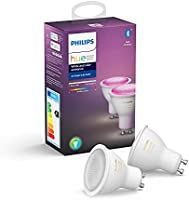 Philips Hue Spot 2-Pack - GU10 - Duurzame LED Verlichting - Wit en Gekleurd Licht - Dimbaar - Verbind met Bluetooth of...