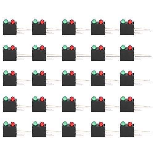(100 piezas) Soporte de plástico LED Base curva de 90 grados de doble orificio con luz verde roja para luces LED de 3 mm