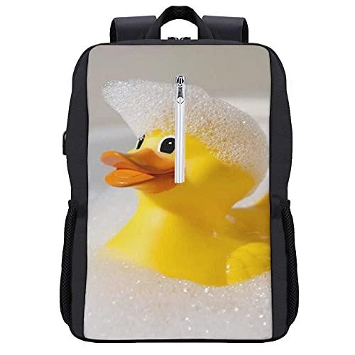 GKGYGZL Zaino per laptop da viaggio,Divertente Carino Squeak Rubber Ducky personaggio dei cartoni animati,Borsa per computer antifurto resistente all'acqua Business Slim con porta di ricarica USB