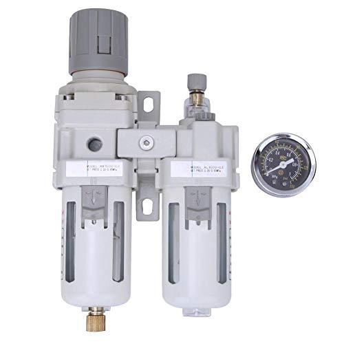 """Druckluftfilterregler, 3/8"""" 1/2"""" BSPT Druckluft Wasserabscheider Druckminderer Öl Wasserabscheider Luftdruckminderer mit Manometer(3/8in BSPT)"""