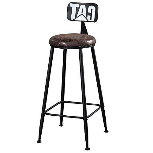 JIEER-C campingstoel, barkruk, barkruk, kruk van ijzer, retro-kussen van PU-kunststof, voor keuken, poten van metaal, gewicht 150 kg, zithoogte 74 cm (kleur: rood) zwart.