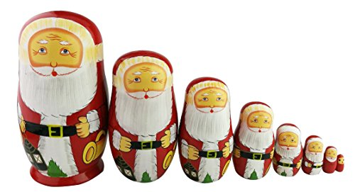 8pcs Cutie Lovely Red Santa Claus WIthink White Big Beard Nesting Dolls Matryoshka Russian Doll Popular Handmade Kids Girl Toy