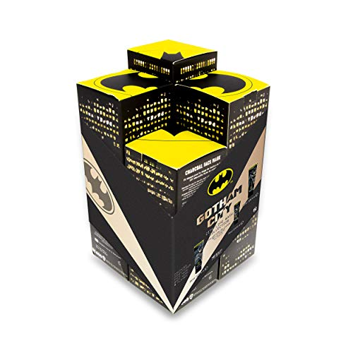 MAD BEAUTY Batman Gotham City 4-Piece Wash Set, Body Wash Gel, Charcoal Face Mask, Hair Conditioner, and Flannel Towel, Awesome Bath and Body Gift Set for Men, Batman Fans