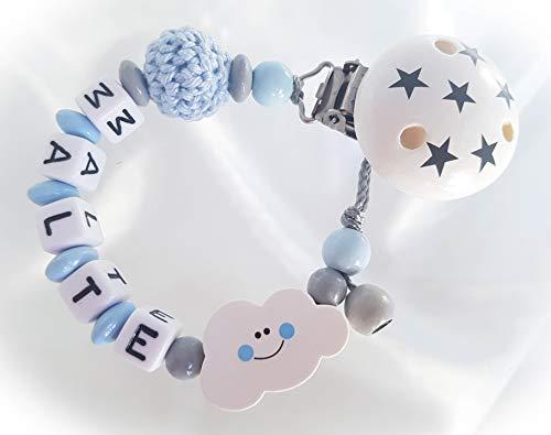 Baby Schnullerkette für Jungen mit Wunschnamen - Kinder - Geschenk zur Geburt, Taufe, Babyparty - Wolke, Sterne, Hellblau, Grau, Weiß