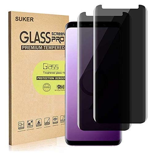 [2-Pack] SUKER Galaxy S9 Privacy Tempered Glass Anti-Spy Screen Protector [3D Curved] [Case Friendly] [9H Hardness] for Samsung Galaxy S9 (5.8), Anti-Scratch, Bubble Free [Not for S9 Plus]