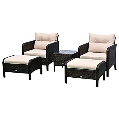 Outsunny 5 Piece Rattan Wicker Outdoor Patio Conversation Set with 2 Cushioned Chairs, 2 Ottomans & Glass Table, Beige